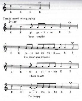 Chant concluant le mythe du garçon-oiseau muni